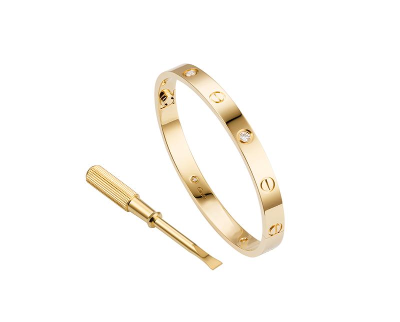 Браслет Картье Love с отверткой, цвета желтого золота c кристаллами Swarovski CR-26461