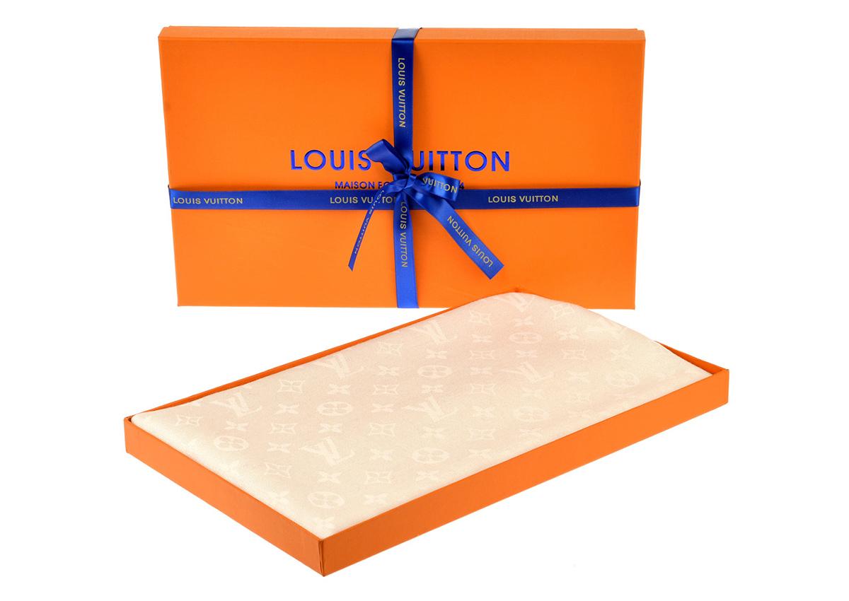 Платок шаль MONOGRAM Louis Vuitton (молочно-белый) арт. PLV-35577